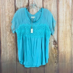 ➡️NWT Cost Plus World Market Blue Lace Tee Size S